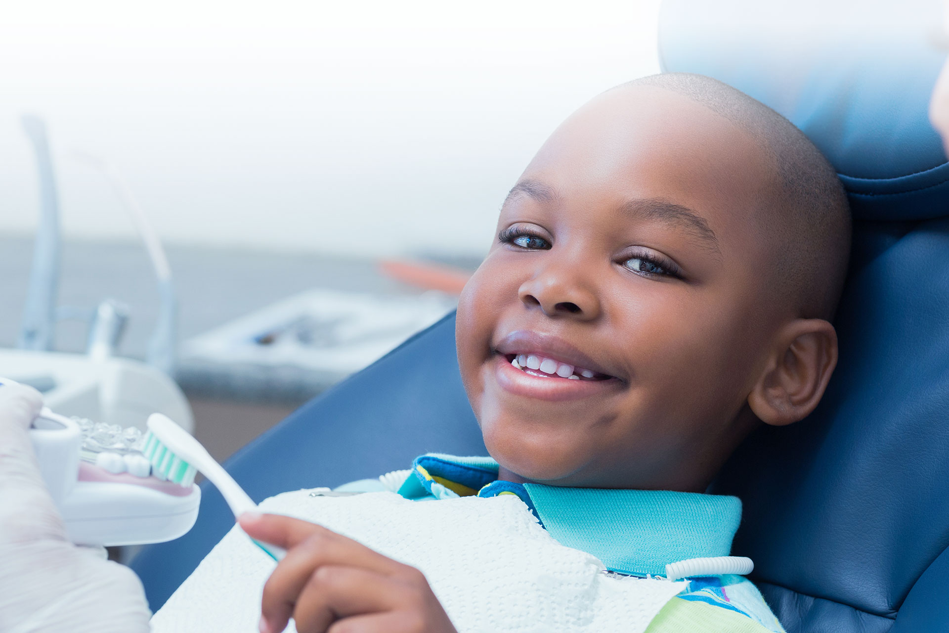 Boy in dental chair